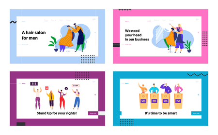 Hairdresser Doing Haircut in Barbershop Landing Page. Quiz TV Show Game. Crowd of Young People Protesting on Strike. Fashion Styling Body Care Concept Web Banner. Vector flat illustration Фото со стока - 129762237