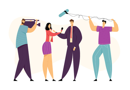 Female TV Journalist Doing Report. Woman News Reporter Character Taking Interview. Mass Media Broadcasting Concept with Cameraman. Vector flat illustration