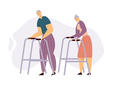 Aged People Couple Walking with Paddle Walker. Happy Senior Man and Woman Characters Together. Elderly People, Old Age Concept. Vector flat illustration