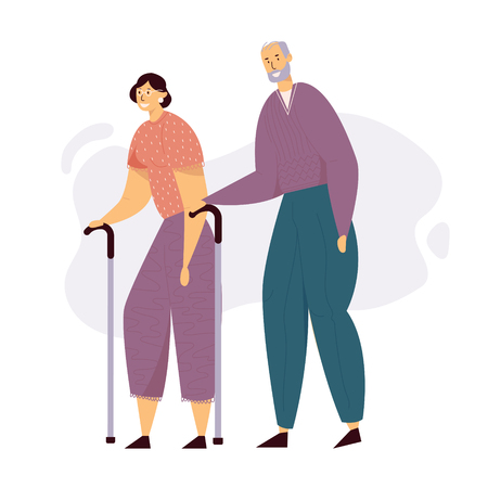 Aged People Couple Walking with Sticks. Happy Senior Man and Woman Characters Together. Elderly People, Old Age Concept. Vector flat illustration