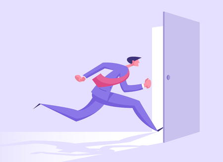 Business Man in Formal Suit Running into Open Door Entrance or Run Out of Exit, Businessman New Opportunity, Escape, Challenge, Success, Right Solution, Future Concept Cartoon Flat Vector Illustration