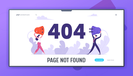 Website Error 404 Page with Business Characters Holding Wire Plug Socket. Page Not Found Template, Broken Internet Connection Website Landing Page, Web Page. Cartoon Flat Vector Illustration, Banner