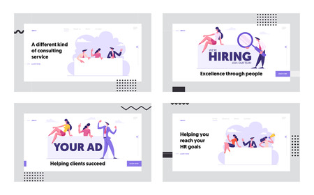 Job Hiring Concept Website Landing Page Set, Vacancy, Recruitment, Business People Searching Candidate to Join Team. Agency Interview, Human Resource Web Page. Cartoon Flat Vector Illustration, Banner Imagens - 124375428