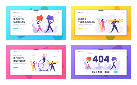 Business Innovation, Solution, 404 Error Website Landing Page Set, Time Management, Teamwork Business People with Socket, Plug and Wrench, Web Page not Found, Cartoon Flat Vector Illustration, Banner  イラスト・ベクター素材