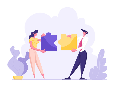 Office People Work Together Setting Up Colorful Separated Puzzle Pieces. Businesspeople in Coworking Place Teamwork, Cooperation, Collective Work, Partnership Concept, Cartoon Flat Vector Illustration