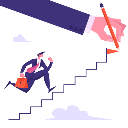 Businessman Character with Briefcase Running Up Hand Drawn Stairs, Business Man Aiming to Ladder Top with Red Flag, Leadership, Success, Goal Achievement Concept, Cartoon Flat Vector Illustration