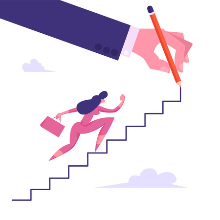 Businesswoman Character with Suitcase Climbing Upstairs Huge Human Hand Painting in Sky, Financial Success, Business Woman Leader Goal Achievement, Leadership Concept, Cartoon Flat Vector Illustration Ilustrace