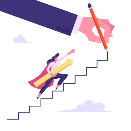 Female Superhero or Super Employee Girl Holding Arrow Underarm Climbing Upstairs among Clouds Drawn with Huge Hand, Business Success and Professionalism Concept, Cartoon Flat Vector Illustration Vettoriali