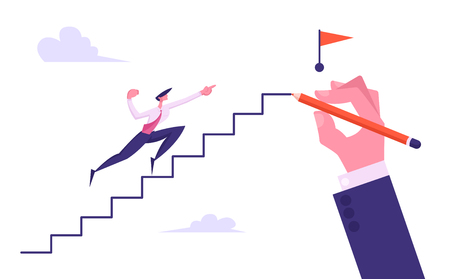 Progressive Businessman Character Run to Top of Hand Drawn Ladder with Red Flag, Business Man Climbing Upstairs to Reach Goal, Leadership, Success, Challenge Concept, Cartoon Flat Vector Illustration