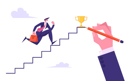 Business Man Aiming to Ladder Top with Gold Cup. Businessman Character with Briefcase Running Up Hand Drawn Stairs to Reach Success. Leadership, Goal Achievement Cartoon Flat Vector Illustration
