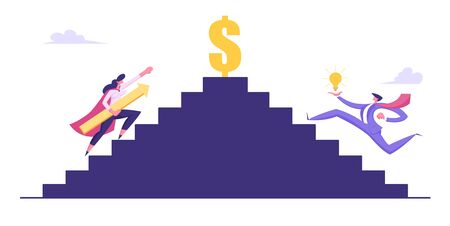 Business People Climbing Upstairs to Money and Success. Man with Bulb and Superhero Woman with Arrow Running to Gold Dollar Sign on Top. Business Competition, Goal Cartoon Flat Vector Illustration