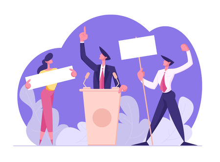 Voting and Election Concept, Pre-election Campaign, Promotion and Advertising of Candidate. Citizens Debating, Holding Empty Banners, Active Political Discussion, Cartoon Flat Vector Illustration