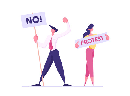 Protesting People with Placards on Demonstration, Male, Female Characters Holding Banners and Signs Against Presidental Election or Candidate Voting, Citizen Protest, Cartoon Flat Vector Illustration Фото со стока - 129762280