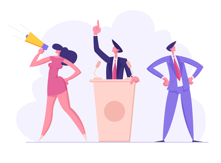 Political Meeting with Candidate in Speech. Pre-election Campaign, Voting with Characters, Man and Woman Voters with Megaphone Promotion and Advertising of Candidate, Cartoon Flat Vector Illustration