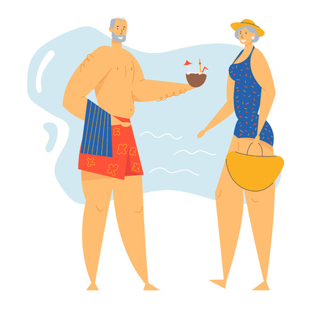 Couple of Senior People on Seaside, Male and Female Elderly Characters Spend Time on Exotic Resort Beach, Leisure, Summer Vacation, Retirement People Relaxing Together Cartoon Flat Vector Illustration