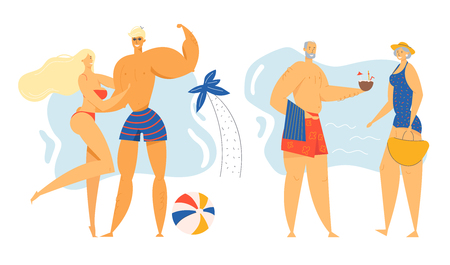 Male and Female Characters Spend Time on Exotic Resort Beach Set, Young and Senior Loving Couples on Seaside Background with Palm and Ball, Leisure, Love, Relations. Cartoon Flat Vector Illustration Иллюстрация