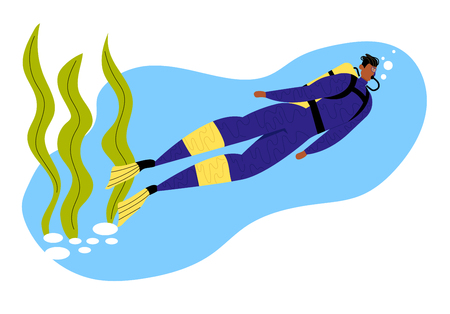 Man Scuba Diver in Swimming Suit, Flippers and Mask on Underwater Background with Seaweed, Snorkeling Diving Profession. Full Length Male Character Water Sport, Hobby, Cartoon Flat Vector Illustration
