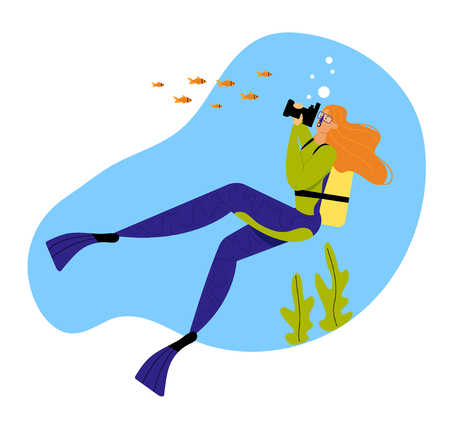 Woman Underwater Diver Photographing Fish in Ocean, Female Character with Snorkel, Flippers and Mask Active Recreation, Vacational Pastime, Girl Leisure Activity. Cartoon Flat Vector Illustration  イラスト・ベクター素材