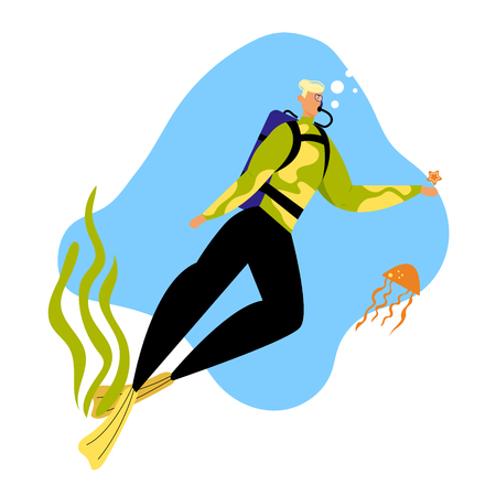 Man Scuba Diver in Swimming Suit Playing with Starfish and Jellyfish Underwater, , Snorkeling Diving Profession. Male Character in Flippers, Mask and Oxygen Balloon Cartoon Flat Vector Illustration  イラスト・ベクター素材