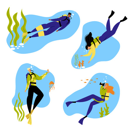 Snorkeling Male and Female Characters Underwater Fun Activities, Hobby, Swimming, Photographing, Scuba Diving, Spear Fishing Equipment Mask, Tube, Flippers, Swim Suit. Cartoon Flat Vector Illustration