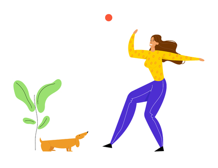Girl Walking with Dachshund Dog Outdoors, Female Character Playing Ball with Pet, Woman Spend Time on Summertime, Relaxing, Leisure, Communicating with Home Animal. Cartoon Flat Vector Illustration