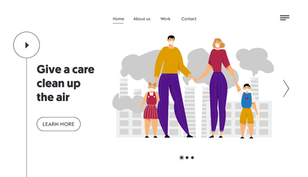 Family Wearing Protective Face Masks. City Environment Air Pollution Concept with Industrial Pipes Emitting Smoke and Smog. Website Landing Page, Web Page. Cartoon Flat Vector Illustration, Banner