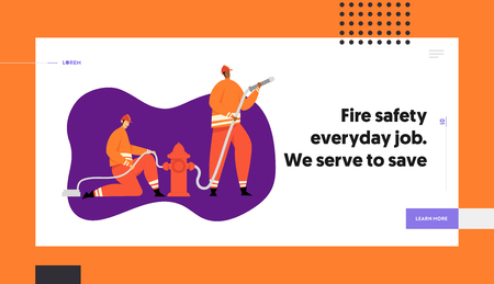Firemen Fighting with Blaze, Firefighter Character in Helmet with Firehose and Rescue Equipment. Firefighting Emergency Concept Website Landing Page, Web Page. Cartoon Flat Vector Illustration, Banner