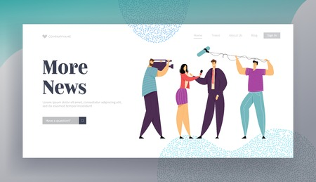 Female TV Journalist News Report. Woman Reporter Character Taking Interview. Mass Media Broadcasting Concept with Cameraman Website Landing Page, Web Page. Cartoon Flat Vector Illustration, Banner