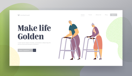 Aged Couple Walking with Walker on Street. Happy Senior Man and Woman Characters Together. Elderly People, Old Age Concept Website Landing Page, Web Page. Cartoon Flat Vector Illustration, Banner