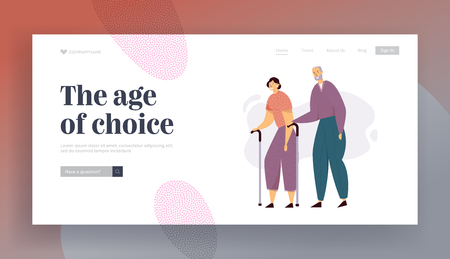 Aged People Couple Walking with Sticks. Senior Man and Woman Characters Happy Together. Elderly People, Old Age Life Concept Website Landing Page, Web Page. Cartoon Flat Vector Illustration, Banner