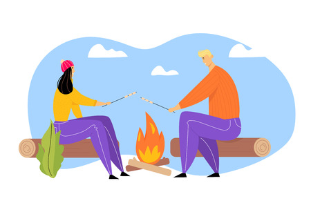 Young Couple Spending Time on Picnic in Summer Camping, Man and Woman Characters Sitting near Campfire Relaxing, Frying Marshmallow, Relax, Outdoor Sparetime on Nature Cartoon Flat Vector Illustration