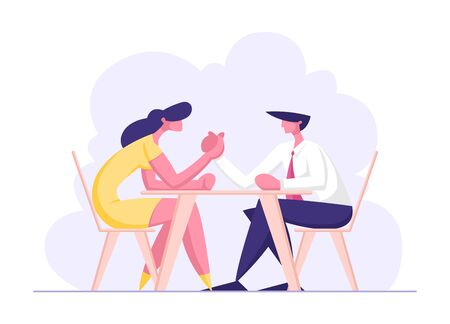 Business People Armwrestling. Man and Woman Fighting on Hands Sitting at Table. Business Competition, Challenge, Leadership Concept with Male, Female Characters Fight. Cartoon Flat Vector Illustration Illustration