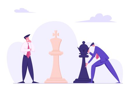 Business Man Making Strategic Chess Move with Black King Piece against White Self Confident Opponent. Thinking and Planning Concept, Tactics and Strategic Game. Cartoon Flat Vector Illustration