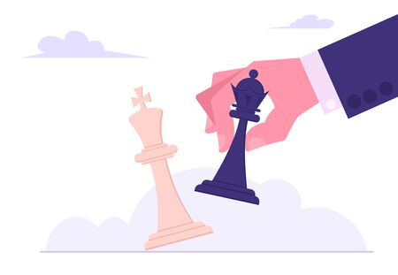 Business Strategy. Black King Tilting White King Chess Piece. Victory in Battle Concept, Planning and Management, Winning Success, Checkmate or Loss in Business. Cartoon Flat Vector Illustration