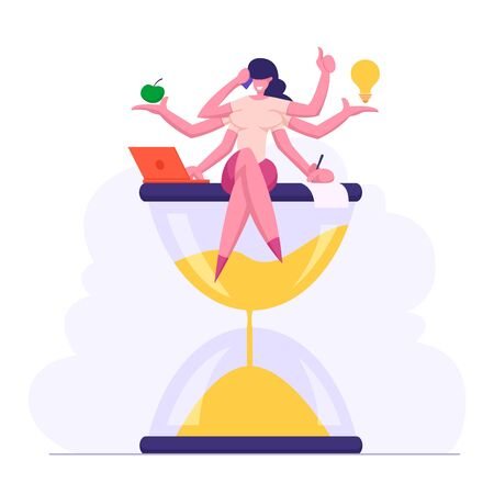 Multitasking Efficient Business Success Concept with Productive Business Woman Character with Six Hands Doing Several Actions Sitting on Hourglass, Time Management. Cartoon Flat Vector Illustration Illusztráció