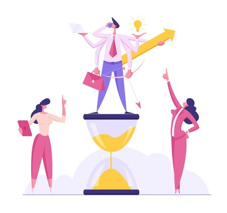 Productive Businessman Character with Six Hands Doing Several Actions Standing on Hourglass, Time Management, Multitasking Efficient Business Success Concept, Deadline Cartoon Flat Vector Illustration