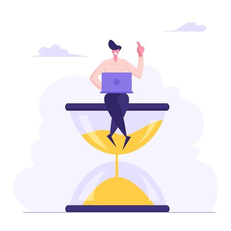 Businessman Sitting on Hourglass with Laptop in Hands. Business Process Concept, Time Management, Procrastination, Multitasking, Working Productivity Infographics. Cartoon Flat Vector Illustration