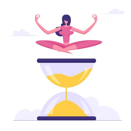 Woman Sitting Cross Legged Meditating on Hourglass, Time Management, Work Planning, Organization, Multitasking, Procrastination, Working Productivity Infographics. Cartoon Flat Vector Illustration