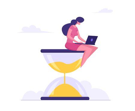 Businesswoman Sitting on Hourglass with Laptop in Hands. Business Process Concept, Time Management, Procrastination, Multitasking, Working Productivity Infographics. Cartoon Flat Vector Illustration Ilustração