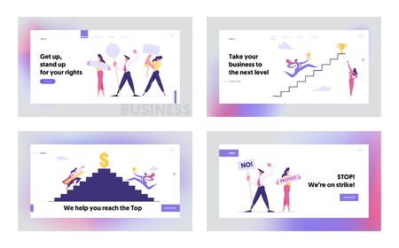 Leadership, Success, Challenge Concept Website Landing Page Set, Business People Run to Top of Ladder, Businesspeople Climbing Upstairs to Reach Goal Web Page. Cartoon Flat Vector Illustration, Banner