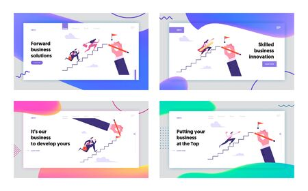 Leadership, Success, Challenge Concept Website Landing Page Set, Business People Run to Top of Ladder, Businesspeople Climbing Upstairs to Reach Goal Web Page. Cartoon Flat Vector Illustration, Banner Stock Vector - 129762319