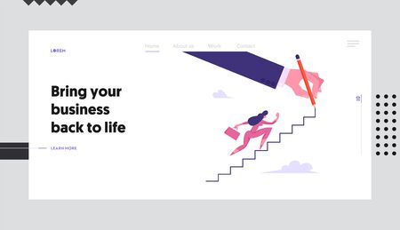 Businesswoman Character with Suitcase Climbing Upstairs Website Landing Page, Financial Success, Business Woman Goal Achievement, Leadership Concept, Web Page. Cartoon Flat Vector Illustration, Banner