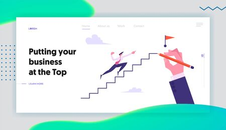 Leadership, Success, Challenge Concept Website Landing Page, Businessman Run to Top of Ladder with Flag, Business Man Climbing Upstairs to Reach Goal Web Page. Cartoon Flat Vector Illustration, Banner