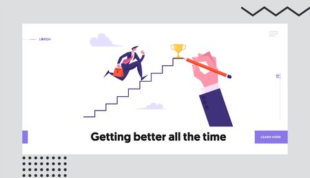 Business Man Aiming to Ladder Top with Gold Cup. Businessman Character Running Up Stairs to Reach Success. Goal Achievement Website Landing Page, Web Page. Cartoon Flat Vector Illustration, Banner