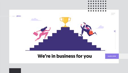 Business People Climbing Stairs with Golden Goblet on Top. Business Competition, Goal Achievement, Success, Leadership Concept, Website Landing Page, Web Page. Cartoon Flat Vector Illustration, Banner