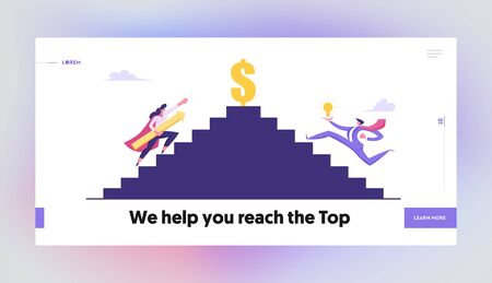 Business People Climbing Upstairs to Dollar Sign. Man with Bulb and Superhero Woman with Arrow Business Competition, Goal Aiming Website Landing Page, Web Page Cartoon Flat Vector Illustration, Banner