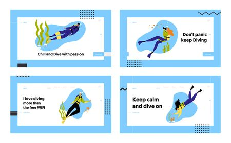 Snorkeling Characters Underwater Fun Activities Website Landing Page Set, Hobby, Swimming, Photographing, Scuba Diving with Spear Fishing Equipment Web Page. Cartoon Flat Vector Illustration, Banner