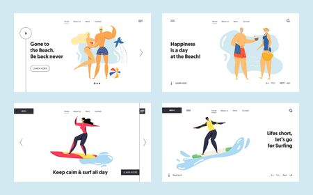 Summertime Leisure, Sport Activity Website Landing Page Set, Young and Senior People Relaxing on Beach, Surfing, Spending Time on Exotic Seaside Web Page. Cartoon Flat Vector Illustration, Banner