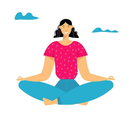 Woman Meditating in Lotus Pose, Outdoors Yoga, Healthy Lifestyle, Relaxation Emotional Balance, Summer Vacation, Harmony with Nature, Summertime Life, Positive Mood. Cartoon Flat Vector Illustration