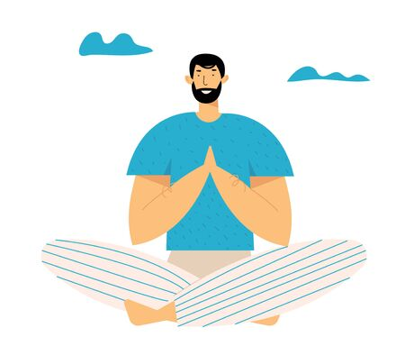Man Practicing Yoga Meditation Outdoor in Lotus Pose for Less Stress. Healthy Lifestyle, Relaxation Emotional Balance, Fitness, Harmony with Nature, Summertime Life. Cartoon Flat Vector Illustration Çizim